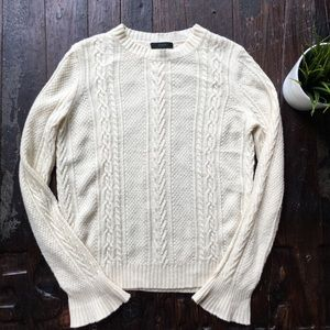 J. CREW Ivory Cable Knit Ruffle Sleeve Sweater XS